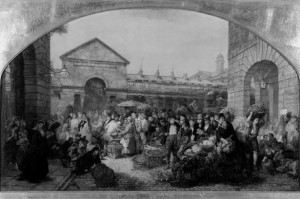 Covent Garden Market-675189. An oil painting showing the early morning bustle of Covent Garden